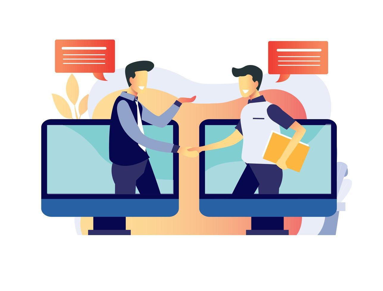 online-job-interviewing-process-vector