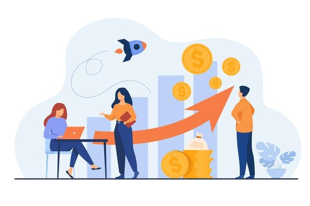 startup-managers-presenting-analyzing-sales-growth-chart-group-workers-with-heap-cash-rocket-bar-diagrams-with-arrow-heap-money_74855-14166